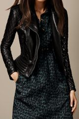 Burberry Quilted Leather Peplum Biker Jacket - Lyst