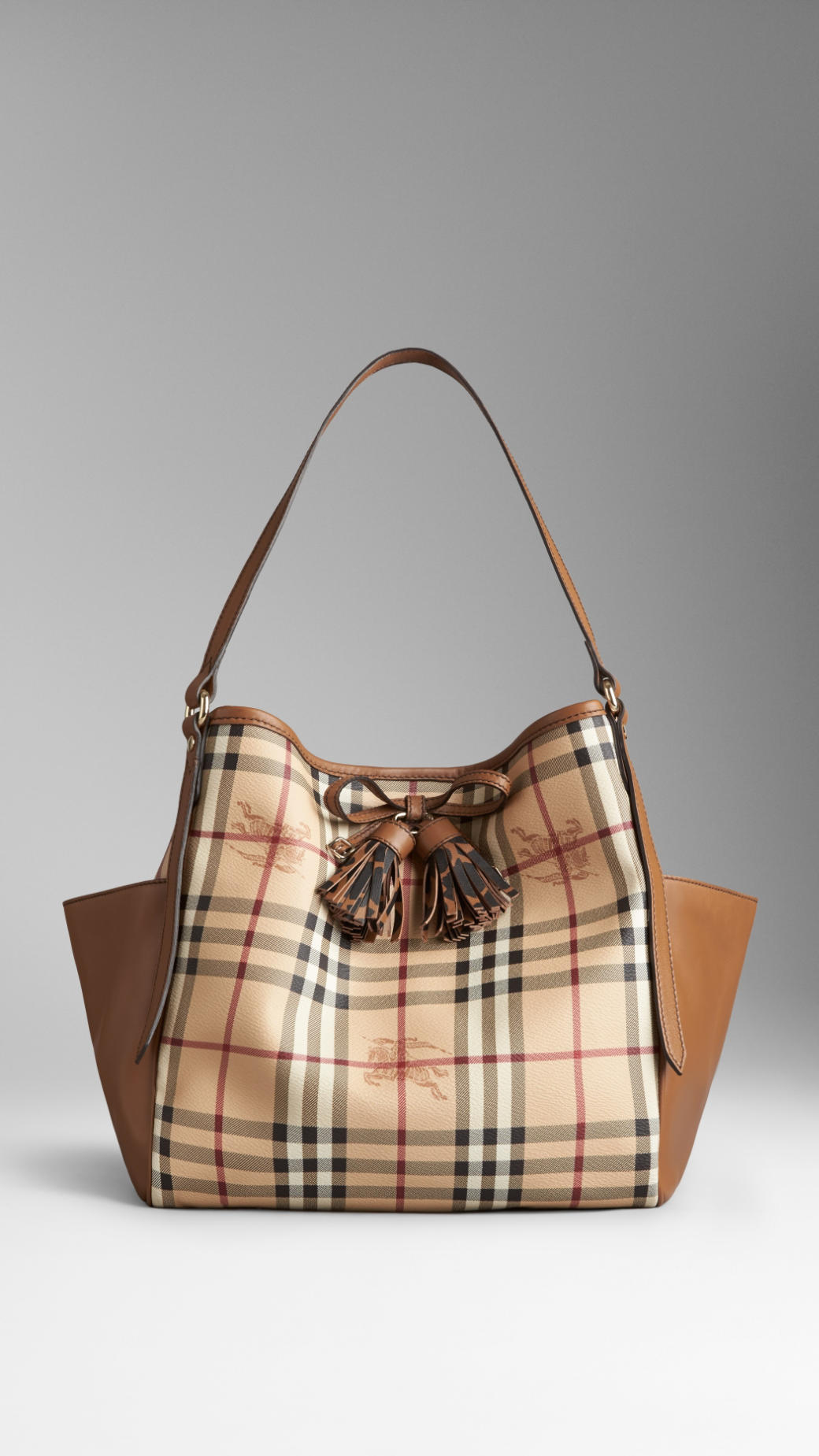 Lyst Burberry Small Haymarket Check Tassel Detail Tote