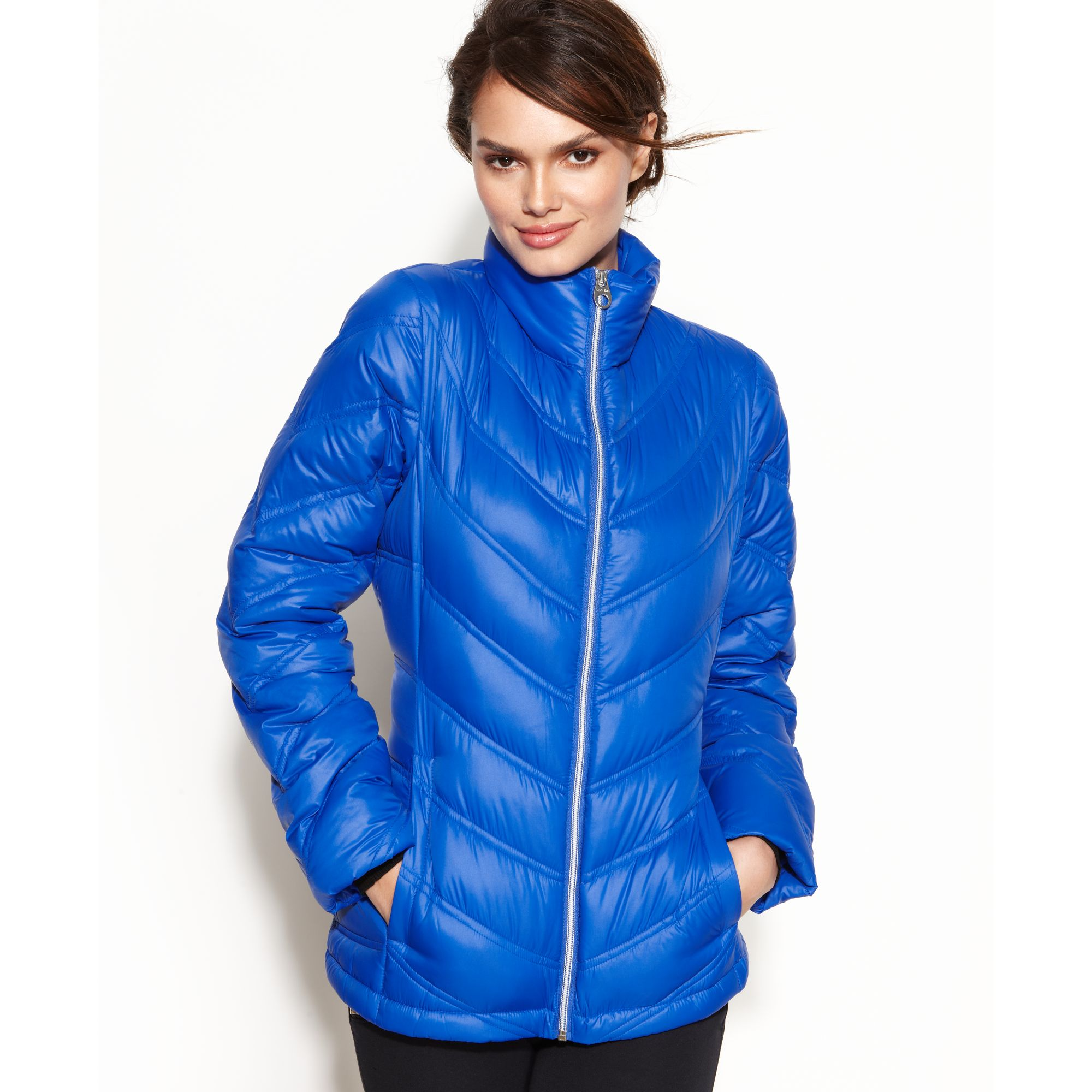 Calvin Klein Chevron Quilted Packable Puffer In Blue