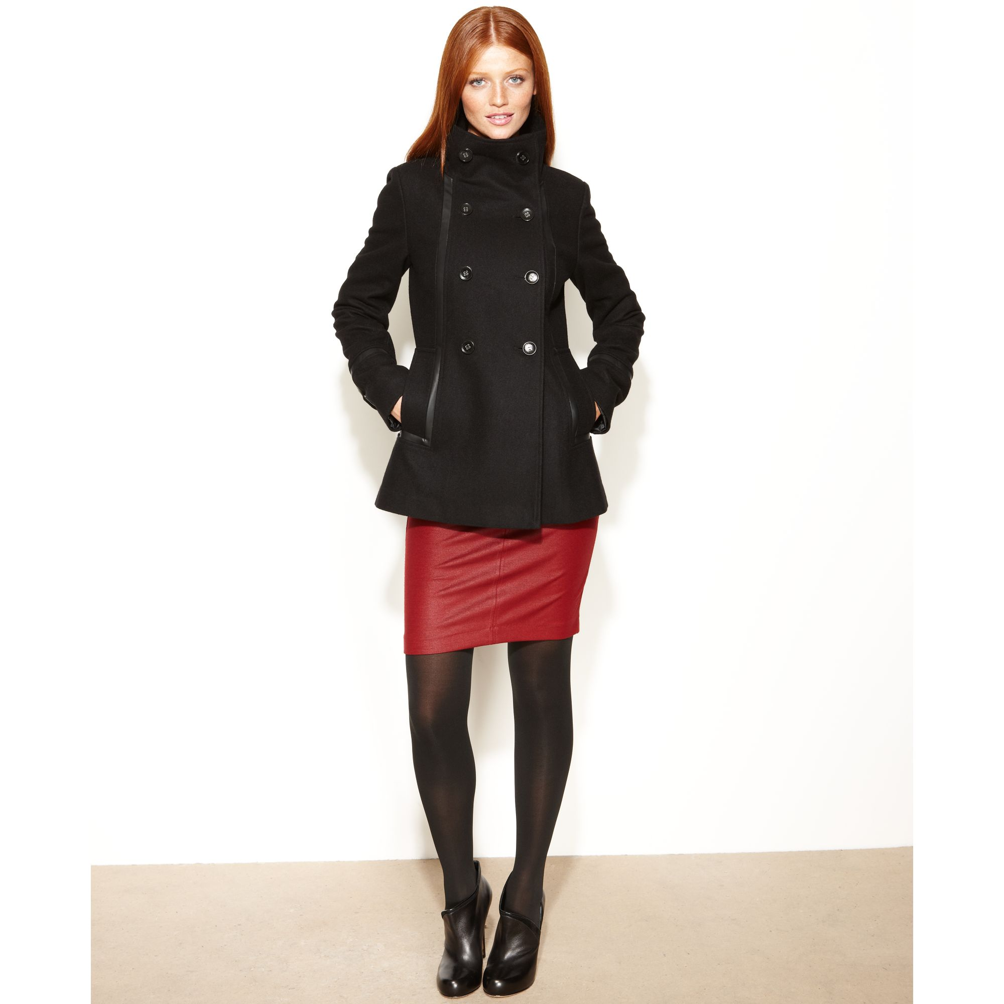 Calvin Klein Double-breasted Faux-leather-trim Pea Coat in Black