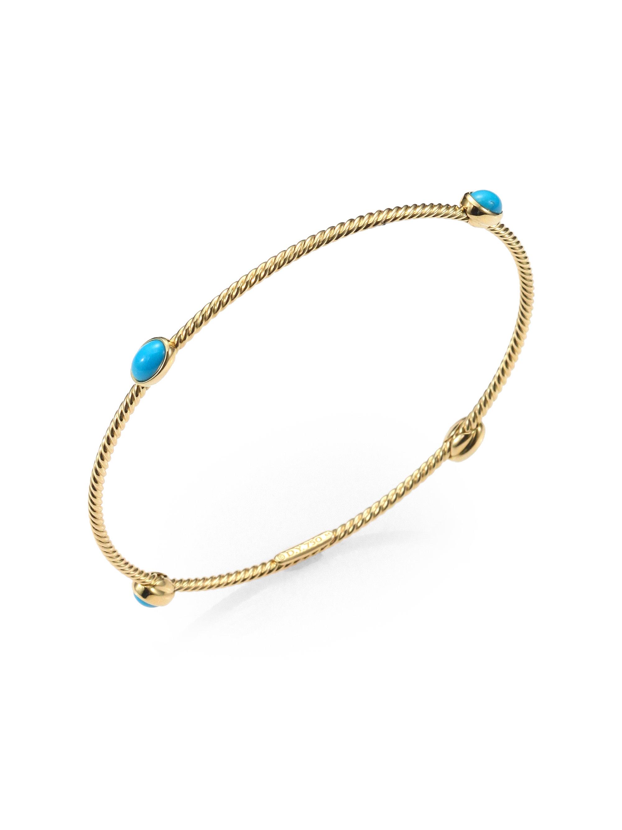 david yurman turquoise 18k gold bangle bracelet in gold. Black Bedroom Furniture Sets. Home Design Ideas