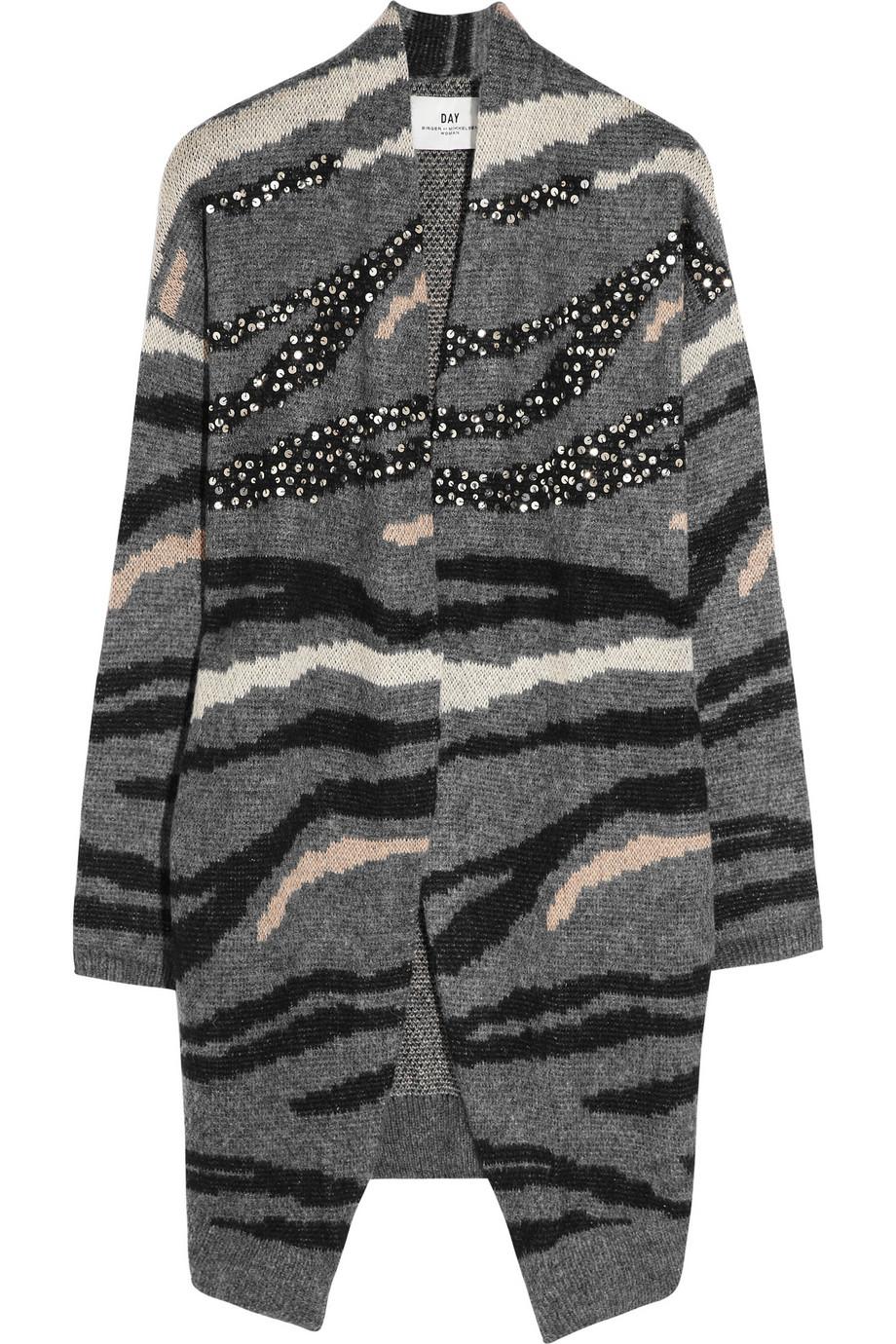 lyst day birger et mikkelsen tiger intarsia knitted cardigan in gray. Black Bedroom Furniture Sets. Home Design Ideas