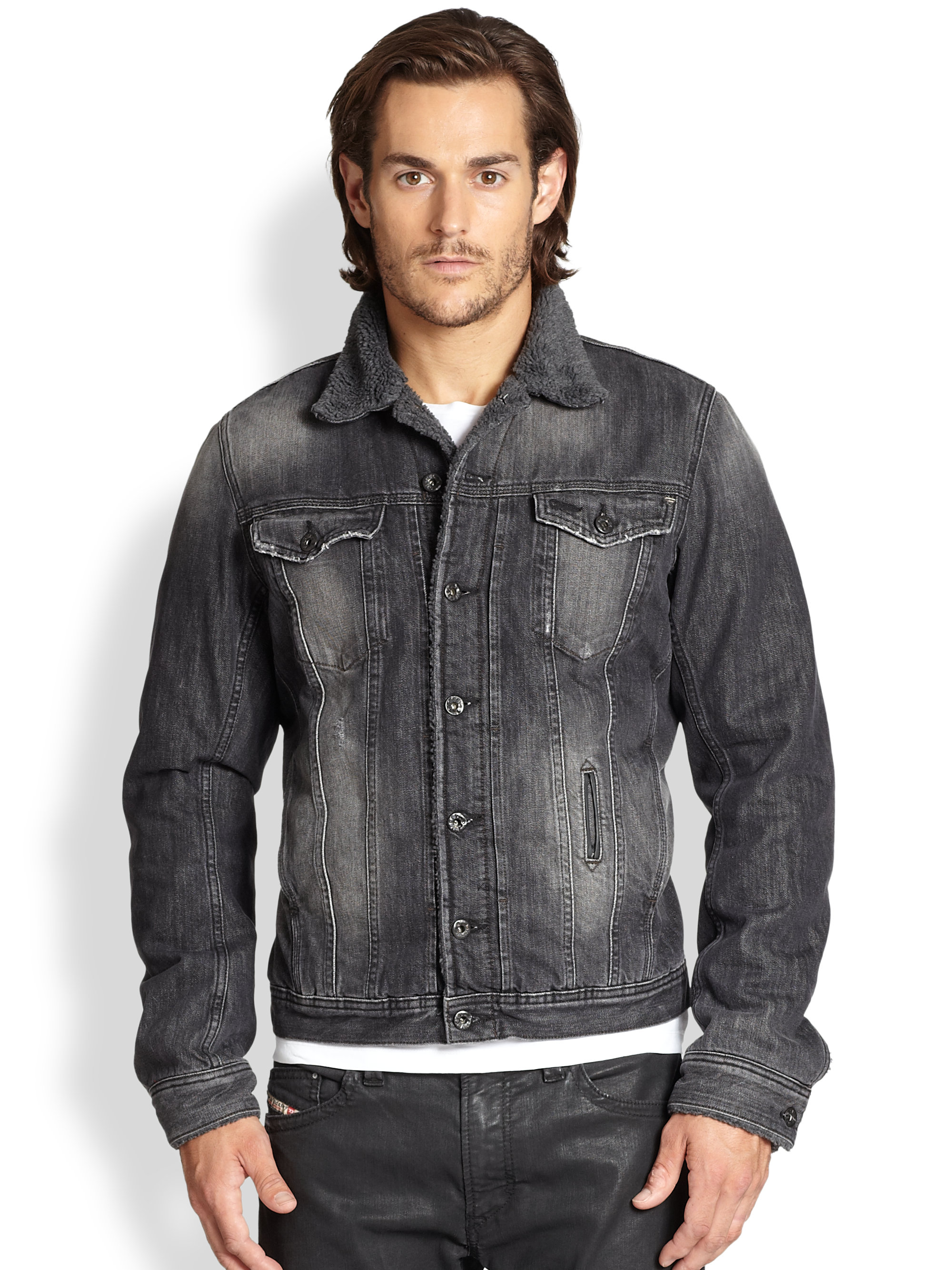 Diesel Faux Shearling Denim Jacket in Gray for Men | Lyst