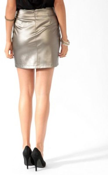 forever 21 metallic faux leather skirt in silver lyst