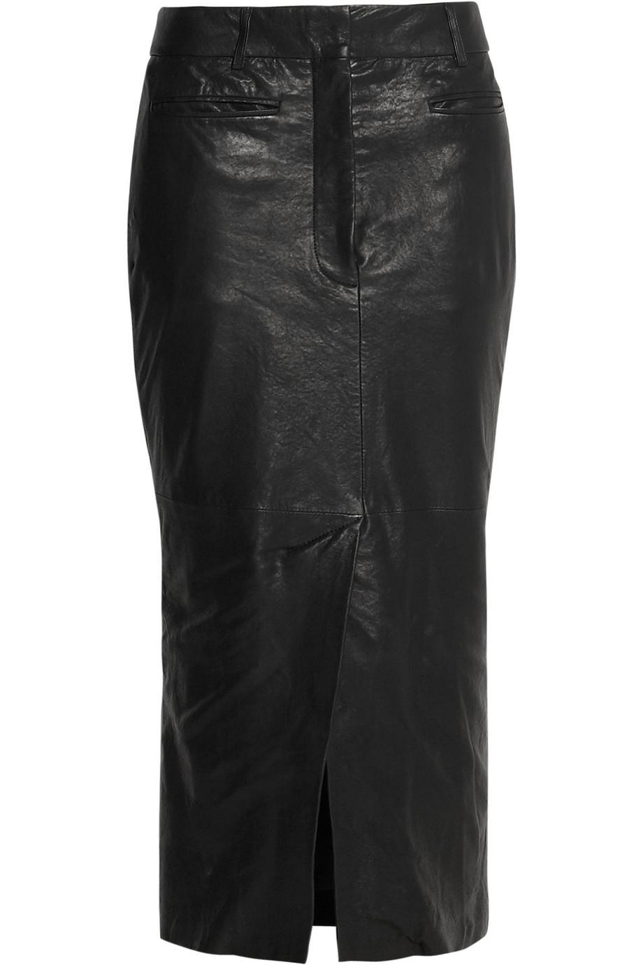 haider ackermann leather midi skirt in black lyst