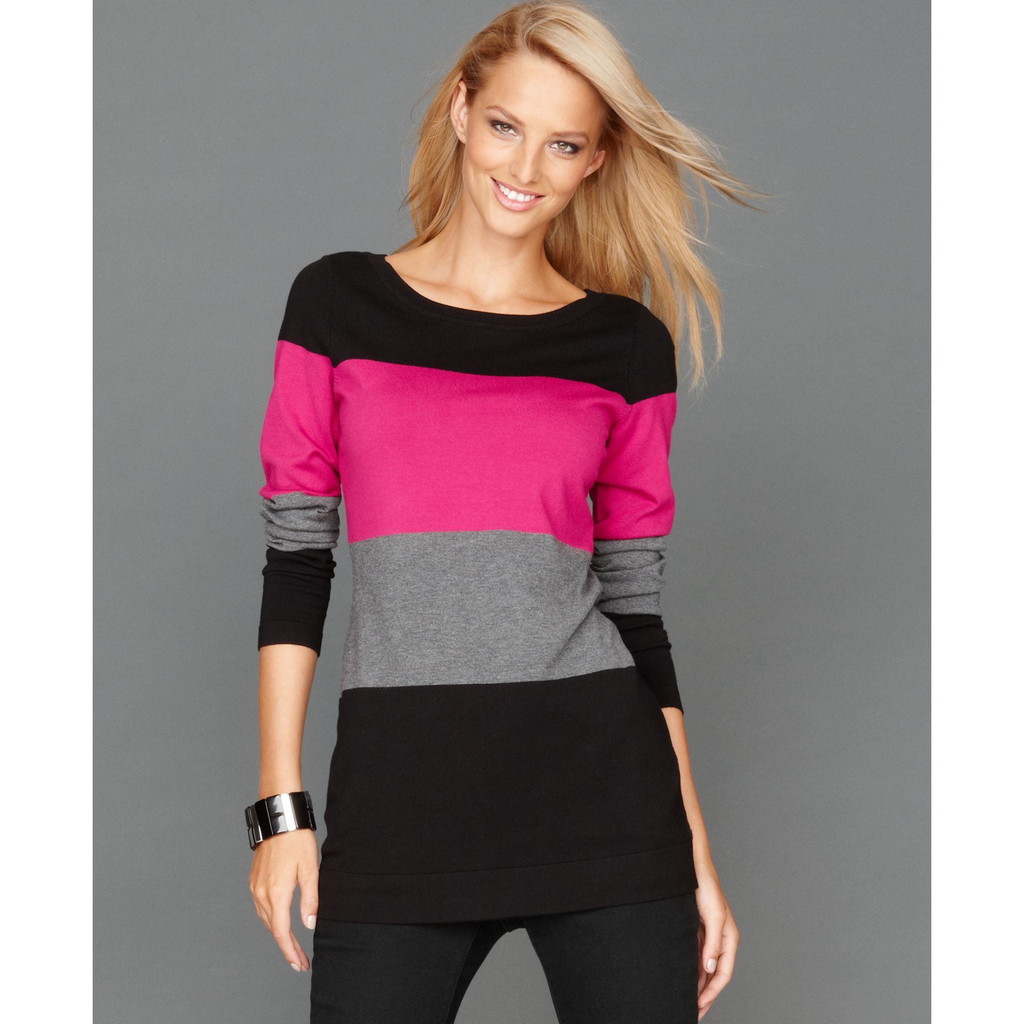 Inc international concepts Longsleeve Colorblock Tunic in Pink | Lyst