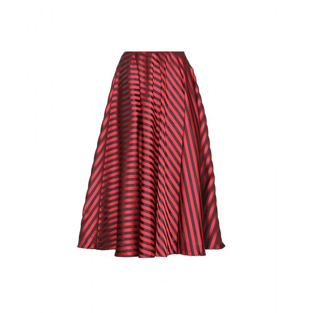 miu miu striped satin twill midi skirt in lyst