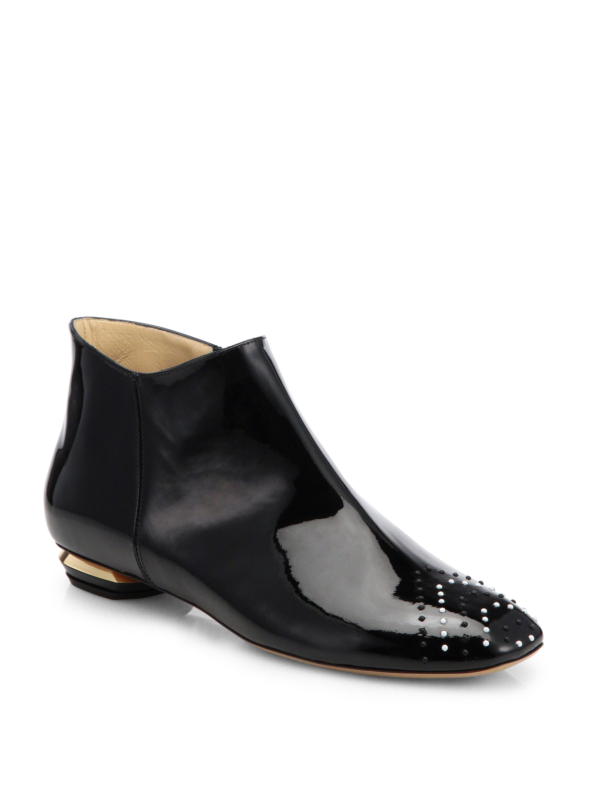 nicholas kirkwood studded patent leather ankle boots in