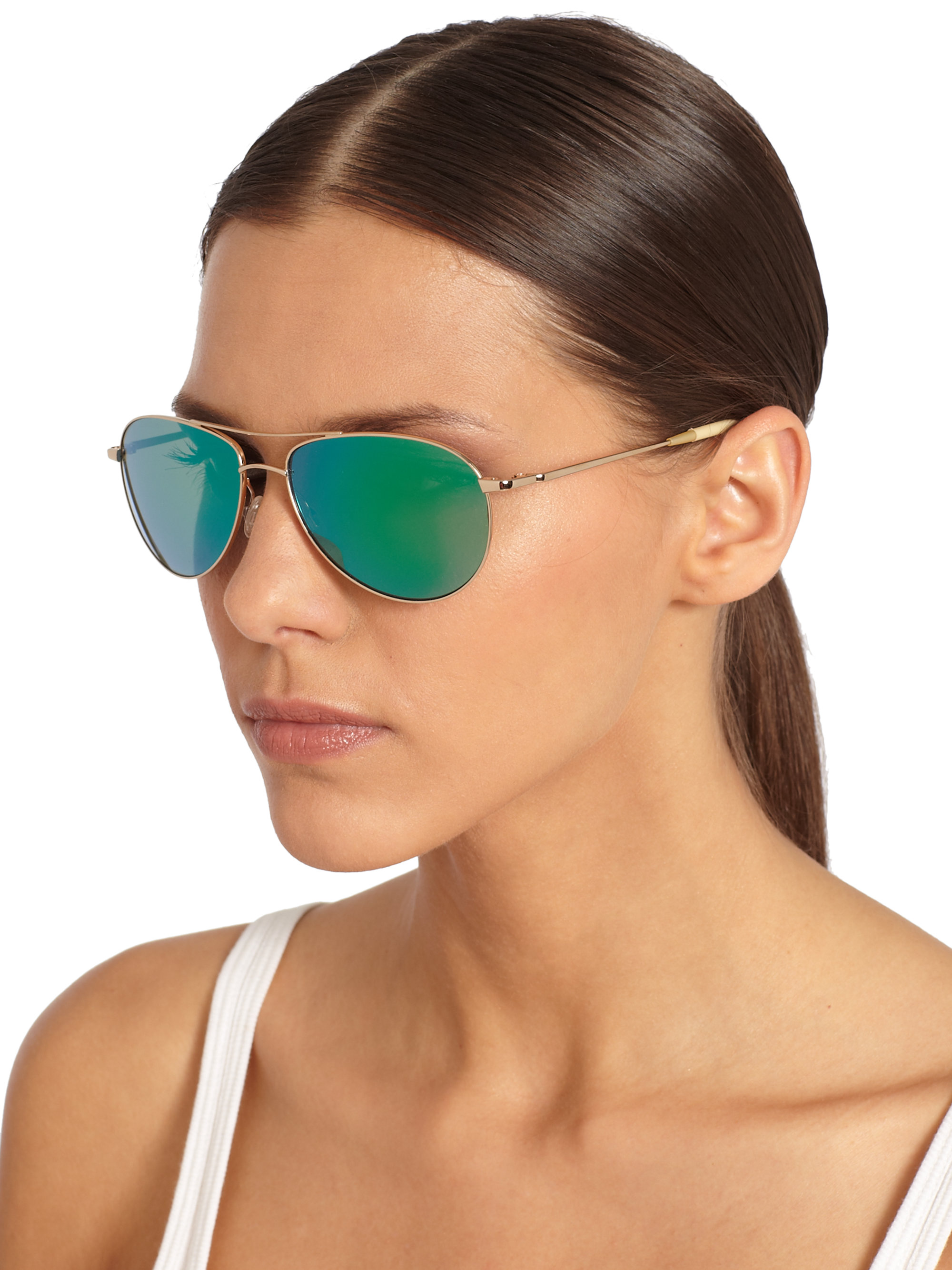 86448cfd81e Lyst - Oliver Peoples Benedict 59 Aviator Sunglassesgreen Mirror in ...