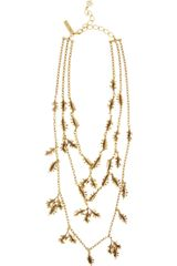 Oscar de la Renta Gold Plated Leaf Necklace - Lyst