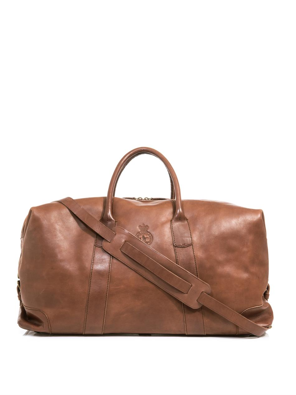 Polo ralph lauren Leather Weekender Bag in Brown for Men | Lyst