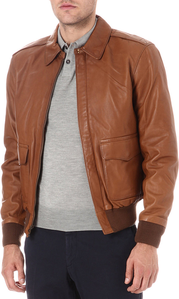 Ralph Lauren Farrington Leather Bomber Jacket In Brown For