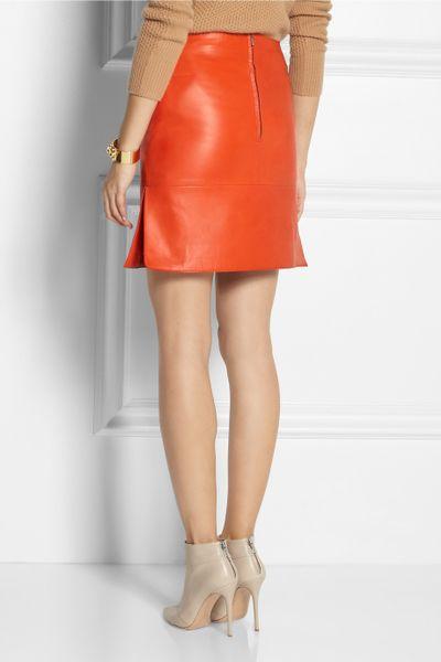 richard nicoll leather skirt in orange lyst
