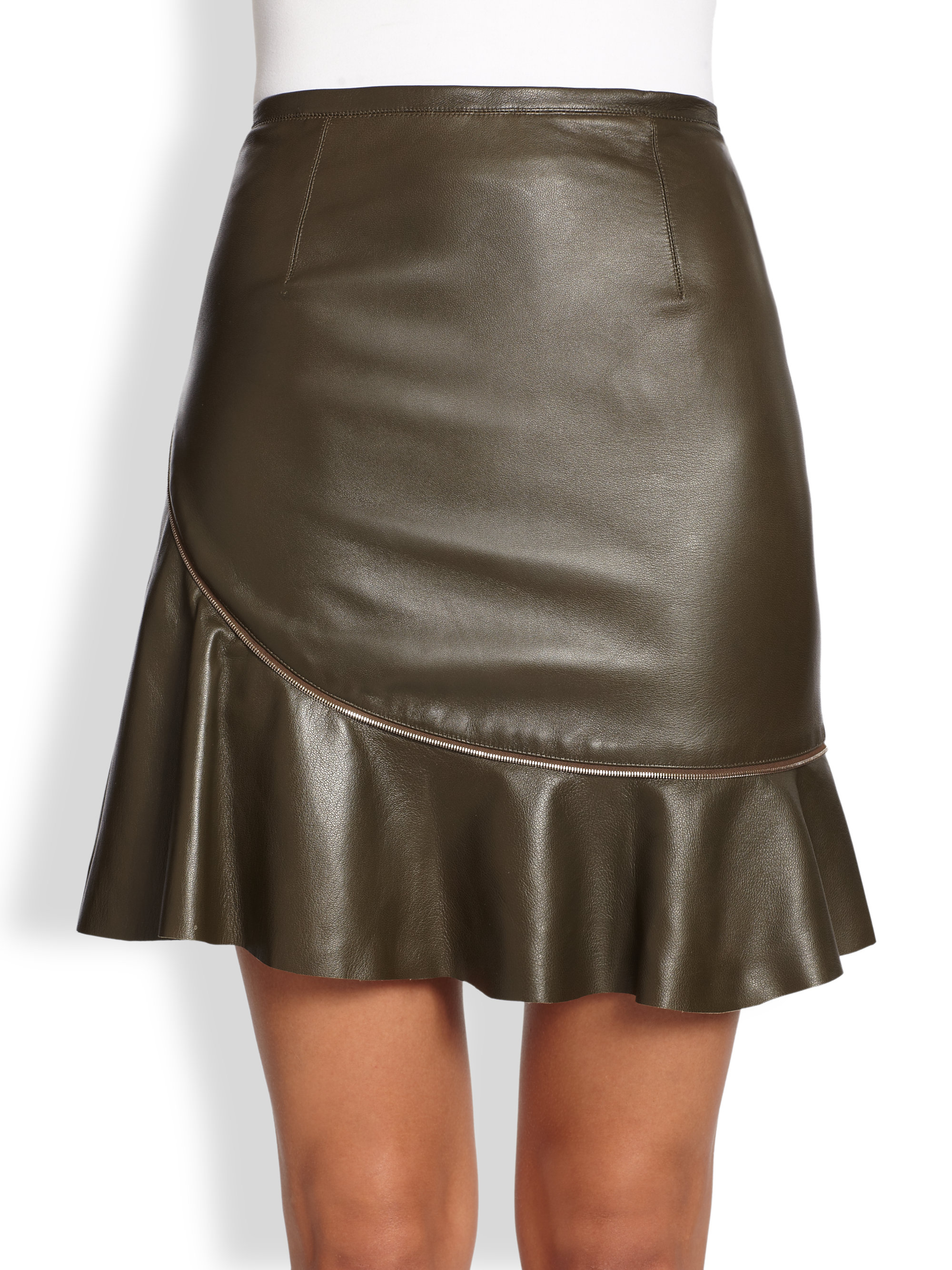 sachin babi aura zip faux leather skirt in brown olive