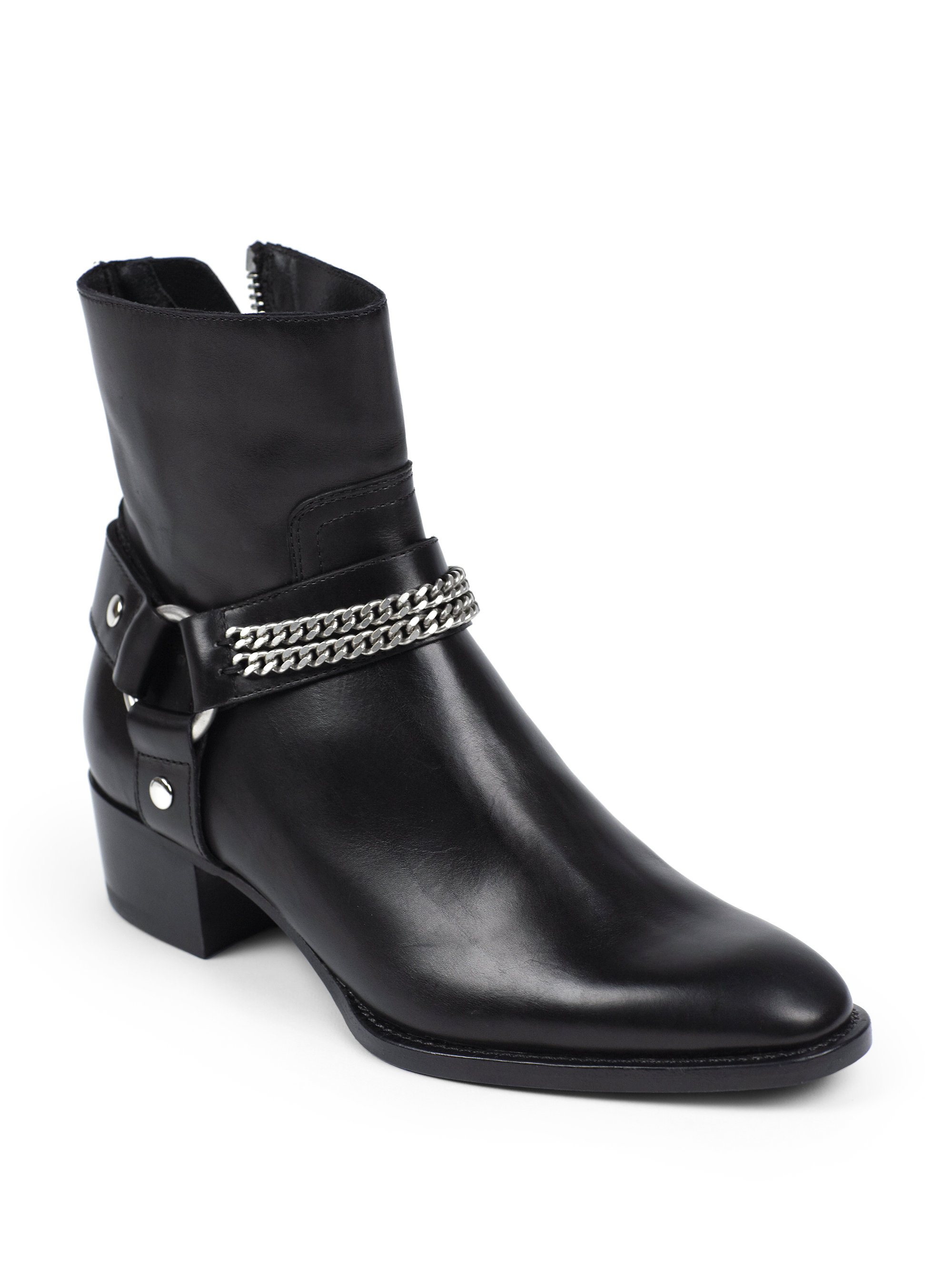 Lyst - Saint Laurent Rock Chelsea Leather Chain Harness Ankle Boots ... 10904f98d