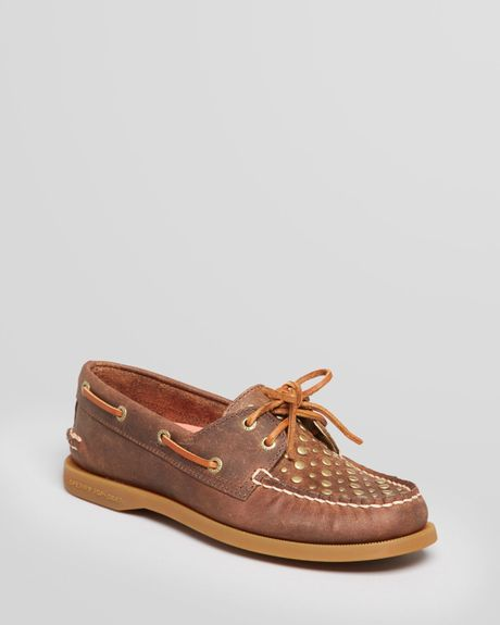 Sperry Top-sider Boat Shoes Ao Studs in Brown (Dark Brown