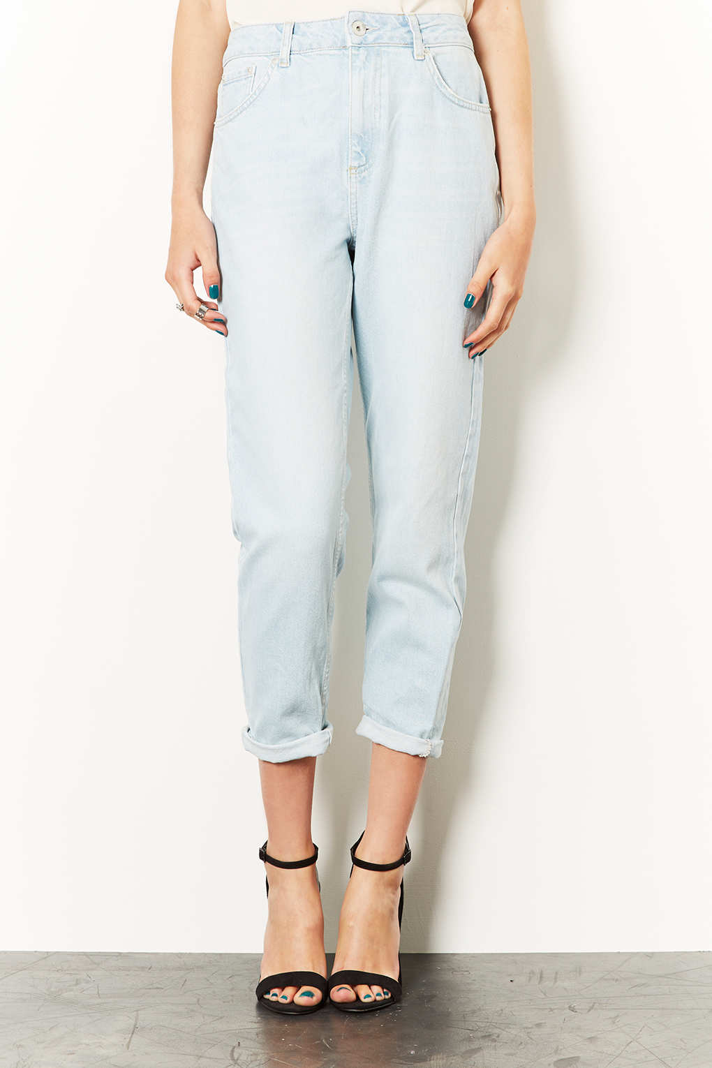 Bleach Jeans Lyst Topshop Acid Blue Moto In Mom RjcqA543LS