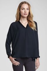 Vince Satinvplacket Silk Blouse Coastal - Lyst