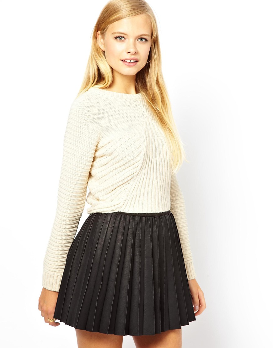 Asos Cropped Sweater with Rib Detail in Natural | Lyst
