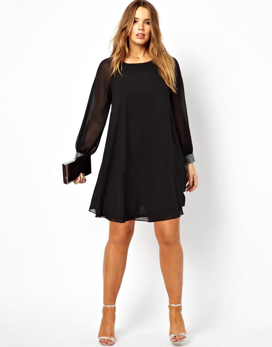 Asos curve asos curve shift dress with embellished cuff in for Cocktail tendance