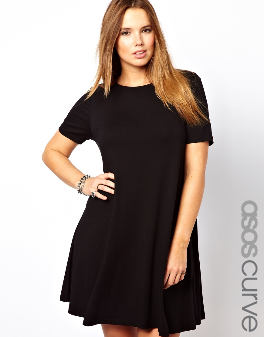 Asos Curve Asos Curve Swing Dress With Short Sleeves In