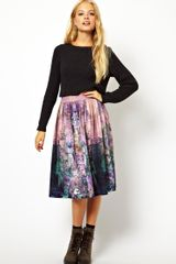 Asos Asos Midi Skirt in Enchanted Garden Print - Lyst