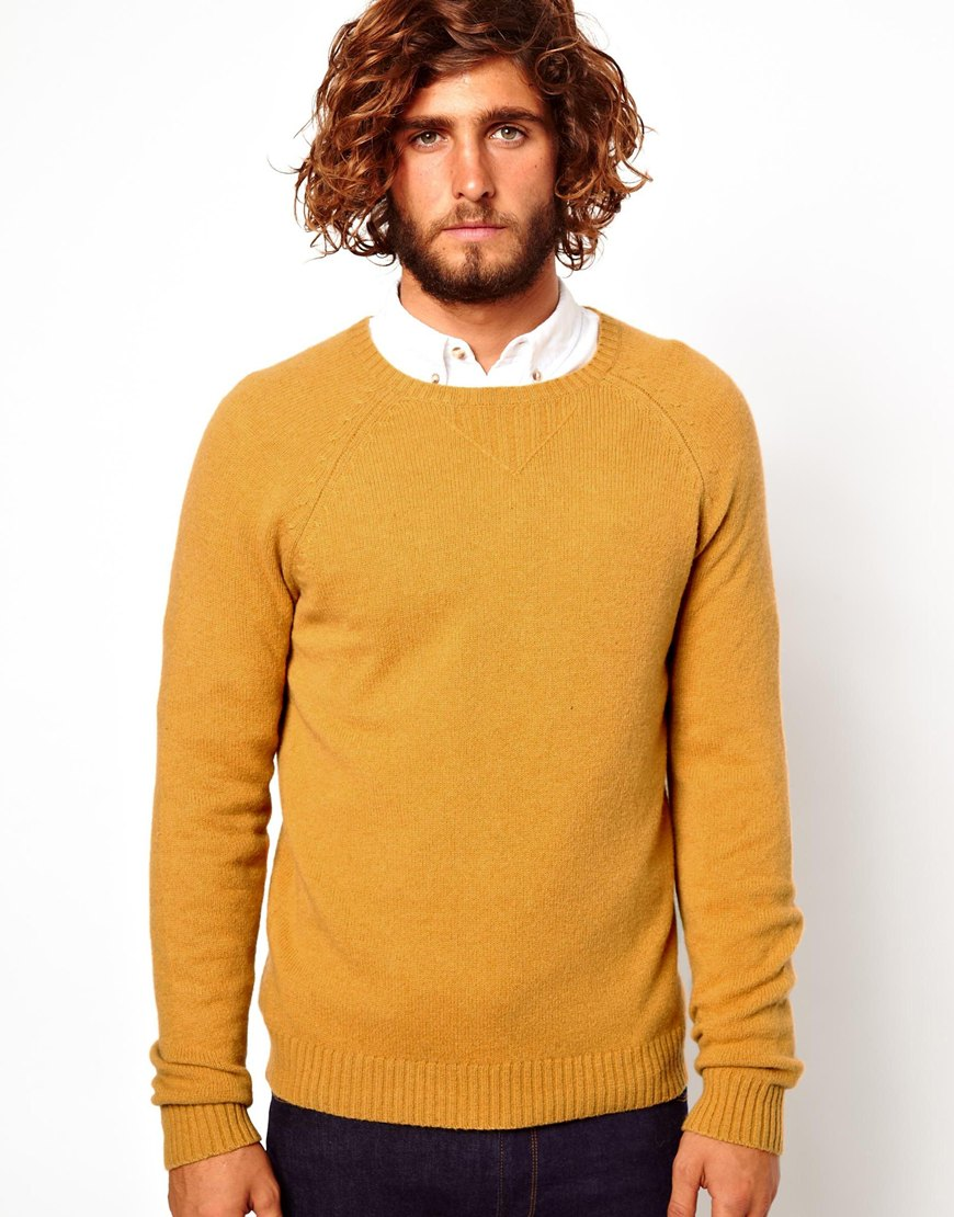 Asos Asos Wool Rich Sweater in Yellow for Men | Lyst