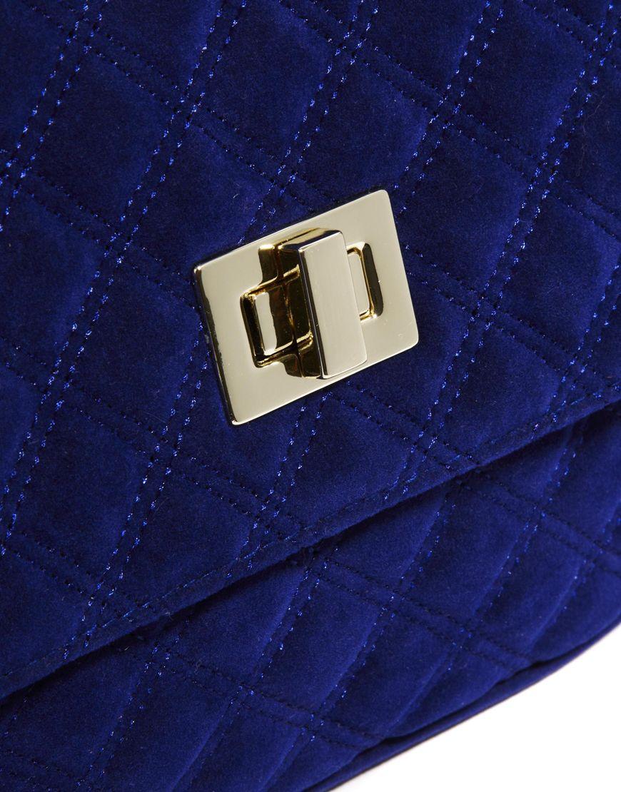 b8327d43423 Lyst Love Moschino Asos Velvet Quilted Lock Cross Body Bag In Blue