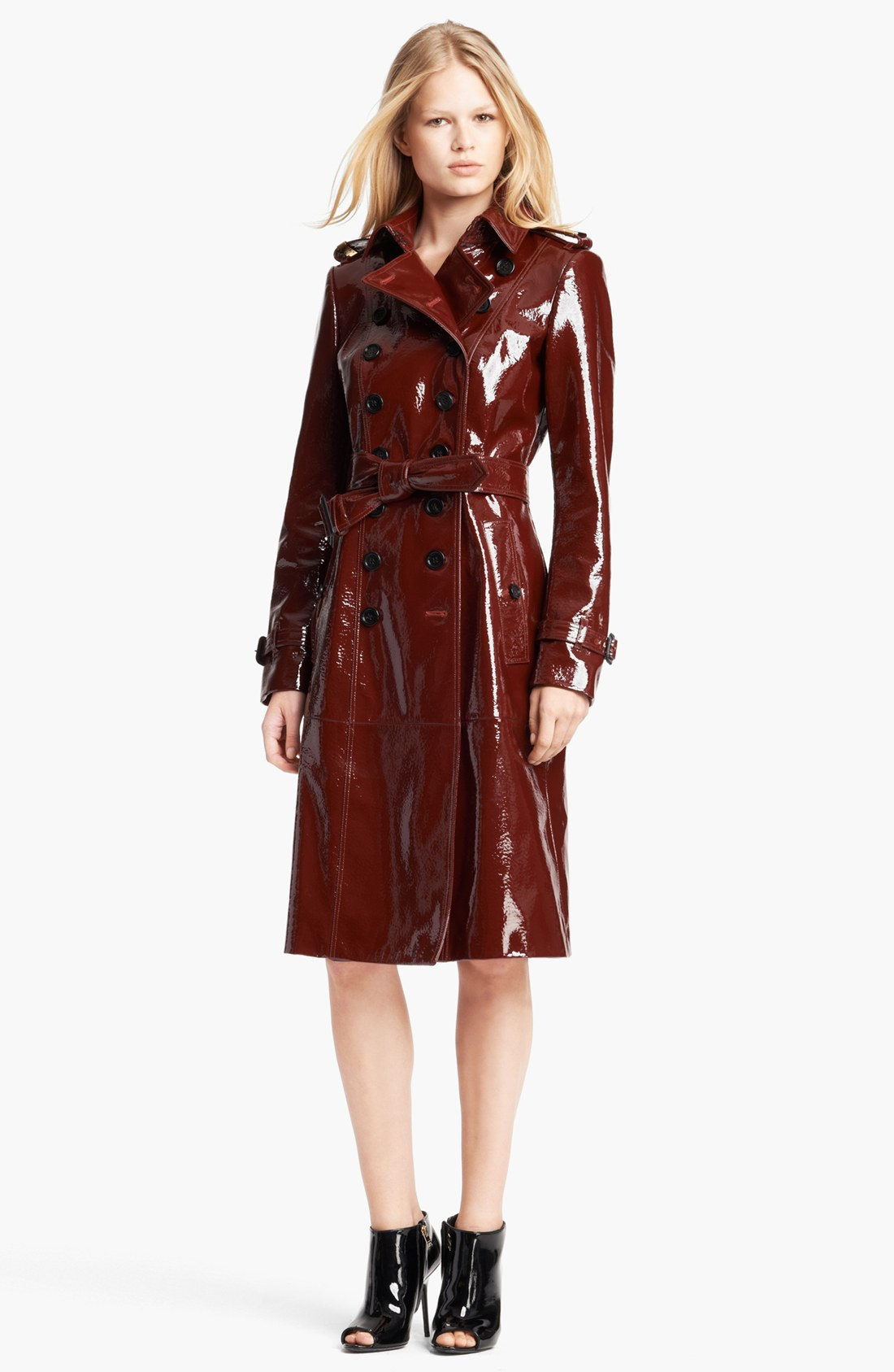 Burberry Prorsum Double Breasted Patent Leather Trench