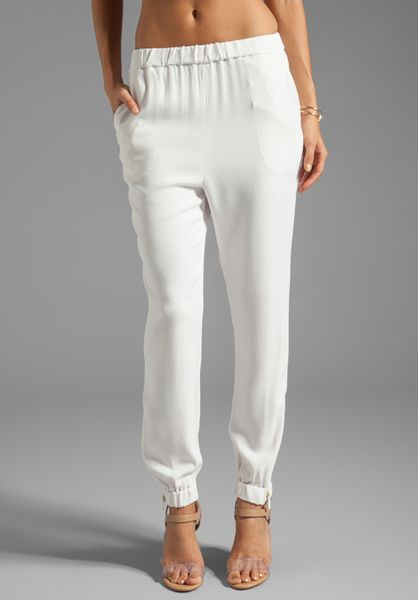 By Malene Birger Sexy Stretch Cosyh Pant in White in White (Cream)