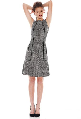 Calvin Klein Faux Leather Trimmed Tweed Dress - Lyst