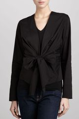 Donna Karan New York Wrap Tie Shirt Jacket Black - Lyst
