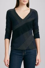Donna Karan New York Vneck Collage Top - Lyst