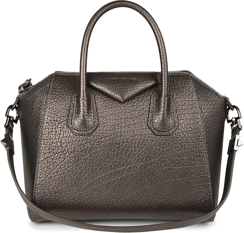 lyst givenchy antigona small grainy leather tote in gray. Black Bedroom Furniture Sets. Home Design Ideas