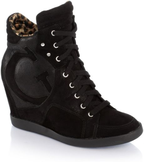 guess farina wedge sneaker in black lyst