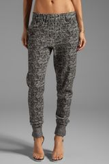 Halston Heritage Tapered Leg Tweed Knit Sweatpant in Black - Lyst