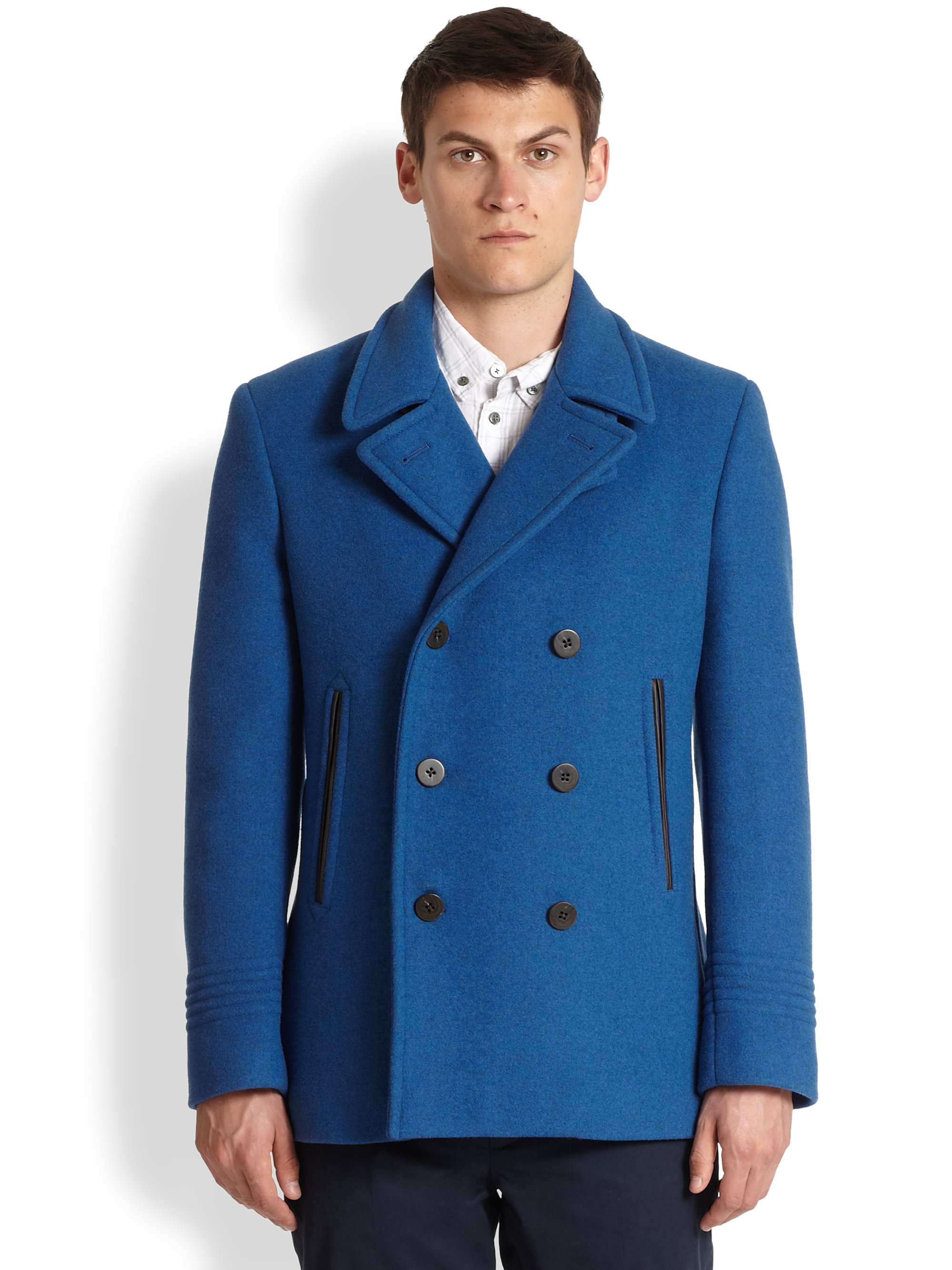 Marc by marc jacobs Rushmore Wool Peacoat in Blue for Men | Lyst
