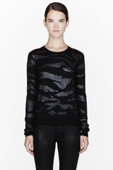 McQ by Alexander McQueen Black Lacquered Tiger Print Sweater - Lyst