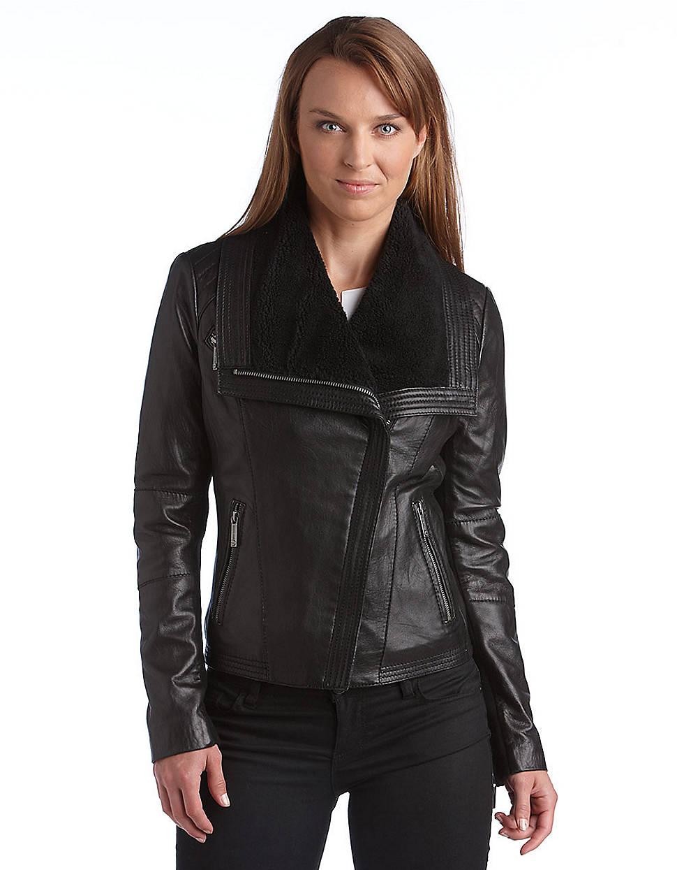 michael kors asymmetrical zip sherpa leather jacket in. Black Bedroom Furniture Sets. Home Design Ideas