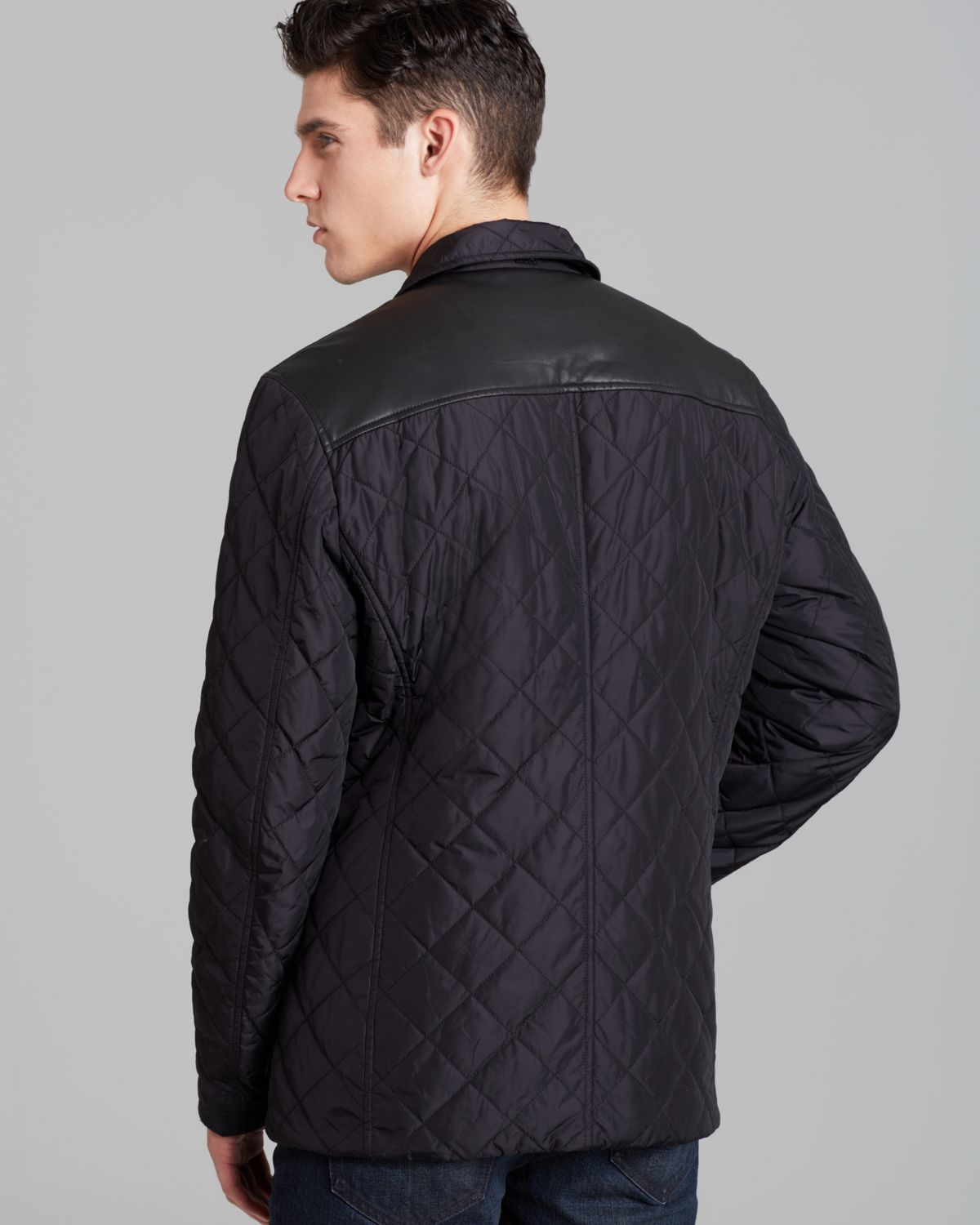 Michael kors Quilted Car Coat in Black for Men | Lyst