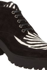 Miu Miu Suede and Ponyhair Lace-up Creeper - Lyst