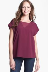 Pleione Sheer Inset Short Sleeve Top - Lyst