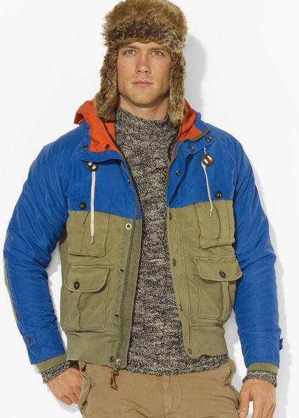 Ralph Lauren Polo Hooded Fourpocket Pieced Jacket In Khaki