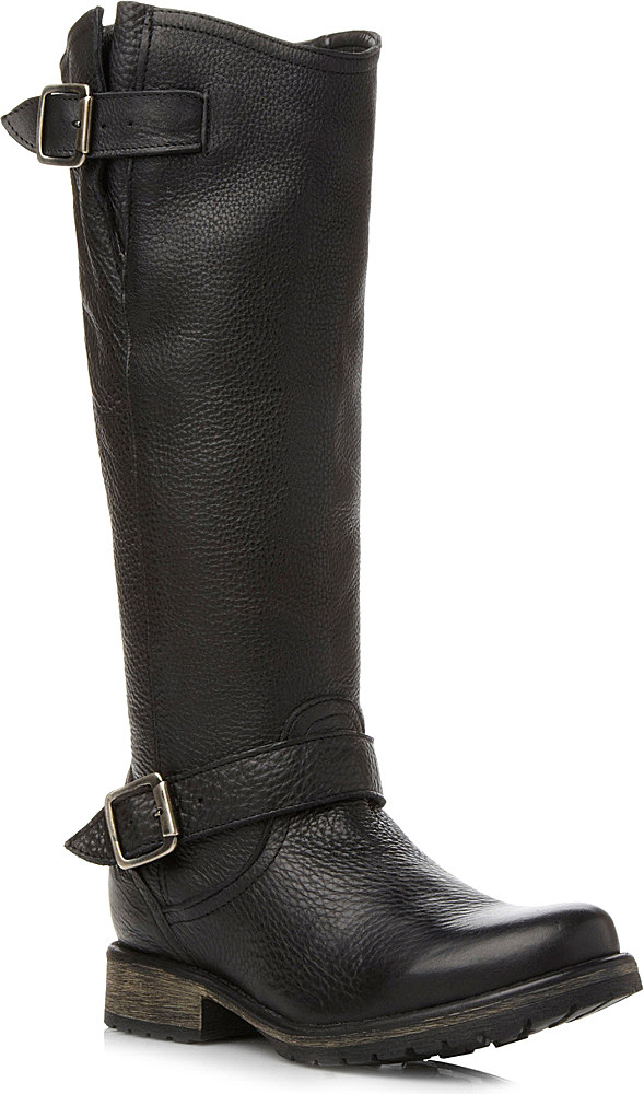 steve madden fairport leather knee high boots in black lyst