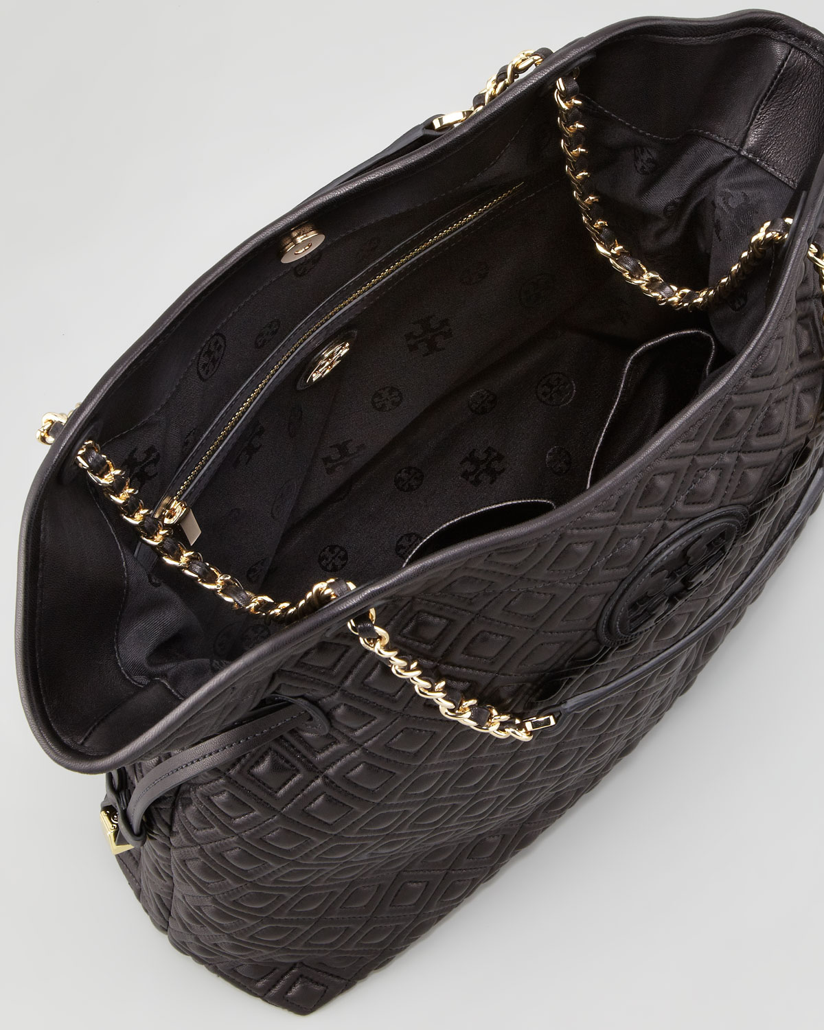 Lyst Tory Burch Marion Chain Strap Tote Bag Black In Black