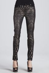 7 For All Mankind The Skinny Shimmery Art Nouveau Printed Jeans - Lyst