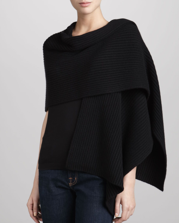 donna karan new york ribbed cashmere shawl poncho in black. Black Bedroom Furniture Sets. Home Design Ideas