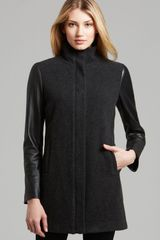 Eileen Fisher High Collar Coat with Leather Sleeves - Lyst