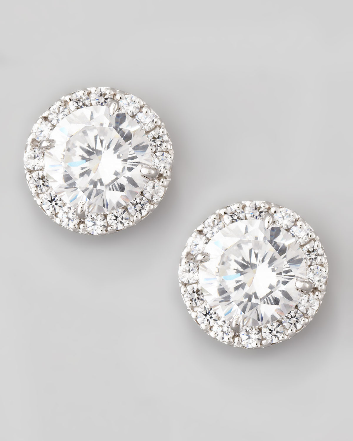 Fantasia 22k Gold-Plated CZ Stud Earrings, Clear