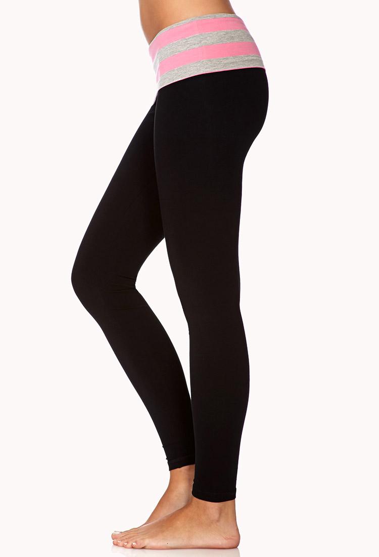 74d100b530 Forever 21 Skinny Foldover Yoga Pants in Black - Lyst